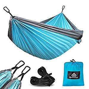 NATUREFUN Lightweight Double Portable Nylon Outdoor Indoor Sleeping Hammock For Travel Camping With 2 Free Carabiners,Blue/Grey