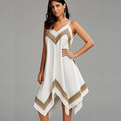 LILICAT Damen Sommerkleider Vintage Kurzarm V-Ausschnitt Strandkleid Blumen Kleider Frauen Elegant Abendkleid Knielang Ladies Mode Irregulär Kleid Weiß