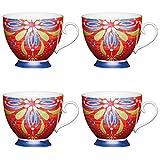 Kitchen Craft Grande marocain Rouge 'à Pied Floral-Patterned Tasses, 400ML (Lot de 4), Porcelaine Anglaise, Multi/Couleur, 13x 10.5x 9.5cm