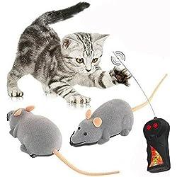 Cisixin Juguete RC Rata Ratón con control remoto inalámbrico para Gatos Perros Animales Domésticos Kid (Gris)