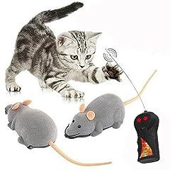 Idea Regalo - Gearmax Peluche Telecomando Topo gatto giocattolo peluche di simulazione Giocattolo difficile del Mouse Chase Toy(Grigio)