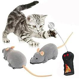 Cisixin Telecomandato Ratto Giocattolo per Gatto Domestico, Giochi Elettronici a Batterie