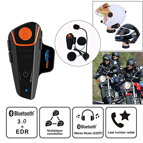 Fodsports BT-S2 Moto Intercom Bluetooth Headsets Impermeable Auriculares Intercomunicador de Casco de Motocicleta con 1000m, GPS, Radio FM, Reproductor de MP3, Mano Libre, (1 Pieza con Cable Duro)