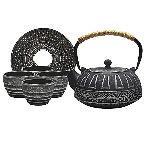 Japanese Style Teapot Set Cast Iron Teapot Come with teapot, 4 Cups, Chinese Trivet and Filter Mash, Perfect for Loose Leaf Tea, Teapot 800ml/27oz, Tea Cup 100ml/3oz