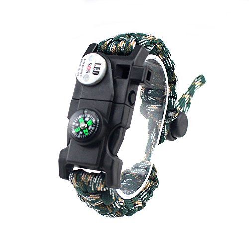 Einstellbare Überleben Armband, 7 Core Paracord 20 in 1 Notfall-Sport Zahnrad Satz Outdoor Survival Kit mit LED SOS Licht, Kompass, Rettungspfeife, Fire Starter Multi-Tool für Wildnis Abenteuer