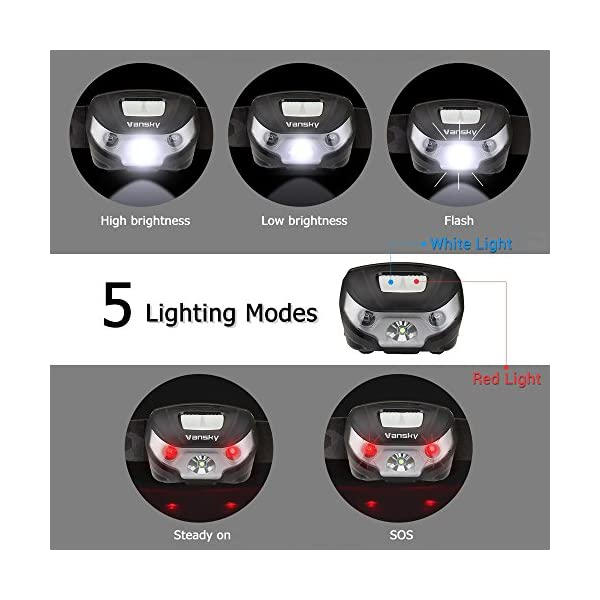 USB Rechargeable LED Head Torch, Vansky Super Bright LED Headlamp, Waterproof Lightweight Hands Free with White & Red Light 5 Modes for Running, Camping, Fishing, Hiking【USB Cable Included】 4
