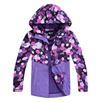 M2C Girls' Outdoor Waterproof Fleece Liner Rain Jacket 7-8 Purple Bubble