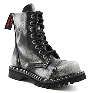ANGRY ITCH 8-Loch White Rub-Off Gothic Punk Army Ranger Armee Leder Stiefel mit Stahlkappe, EU 38