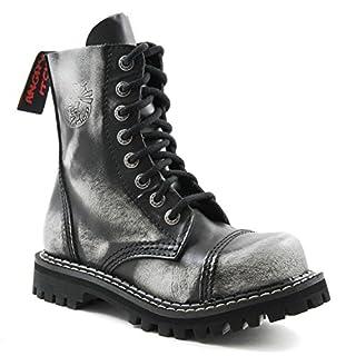 ANGRY ITCH 8-Loch Gothic Punk Army Ranger Armee Weiss Rub-Off Leder Stiefel mit Stahlkappe 36-48 - Made in EU!, EU-Größe:EU-44
