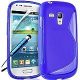Supergets Wave Hydro Gel Schutzhülle für Samsung Galaxy S3 mini I8190 mit Display Schutz, Reinigungstuch und Mini Stylus dunkelblau