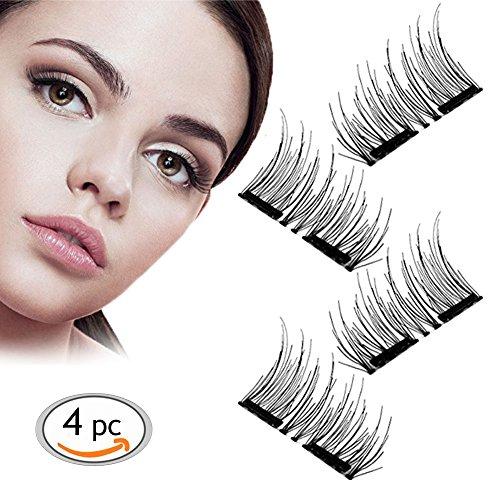 Magnetico ciglia finte, ultra sottile 0.2 mm magnetico occhi di ciglia, 3d riutilizzabile magnet ciglia finte,1 coppia / 4pcs