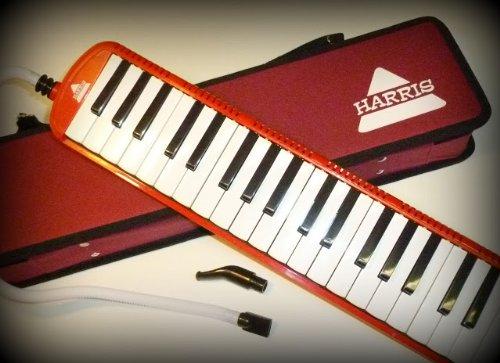 Deluxe Harris Musical rot Melodica mit passendem rot Deluxe Case mit gratis AAA Musical Reinigungstuch