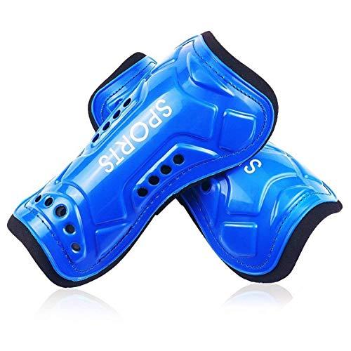 MHOYI Jugend Fußball-Schienbeinschoner, 1 Paar, bequem und langlebig, leicht und atmungsaktiv, für Kinder im Alter von 3-10 Jahren, blau -