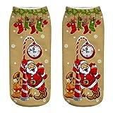 YWLINK Herren Damen Mode 3D Drucken BeiläUfig Socken Niedlich Niedrig Schnitt SöCkchen Weihnachtsmann Unisex