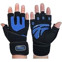 MaMaison007 Palestra di formazione Wrist Wrap guanto sollevamento pesi Sport maglia guanti - L nero