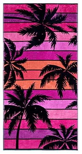 Lashuma Farbenfrohes Strandtuch Hawaii, Velours Handtuch 180 x 90 cm Farbe: Schwarz - Pink - Lila, Großes Palmen Strandbadetuch - Hawaii-handtuch