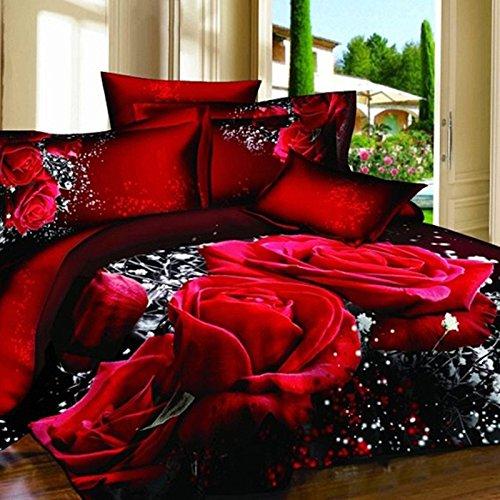 Rosas 3D Juego de Cama 4 Piezas Ropa de Cama  King Size Juego de Sábanas Algodón Funda de Edredón 224 * 229cm Sábanas 229*249cm Funda de Almohada 48 * 74cm*2  Rojo y Negro