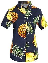 SSLR Women's Pineapple Short Sleeve Casual Blouses Hawaiian Tropical Shirt