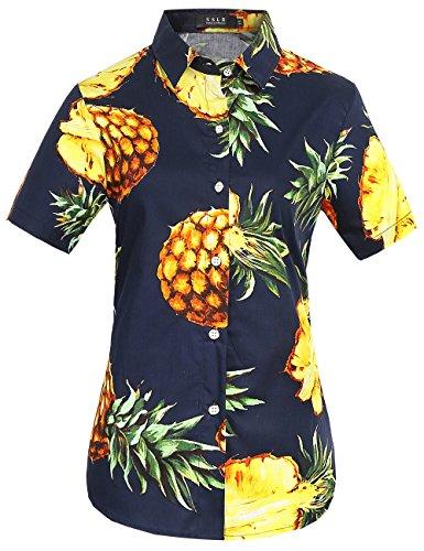SSLR-Camisa-Mujer-Algodn-Manga-Corta-Casual-Tropical-Estilo-Hawaiano-de-Pia-Small-Navy