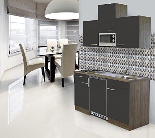 respekta Einbau Mini Single Küche Küchenblock 150cm Eiche York Nachbildung Grau