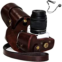 First2savvv XJPT-K30-10G14 Funda Cámara cuero de la PU cámara digital bolsa caso cubierta con correa para Pentax K5II K5IIS K30 K50 lente with 18-55 18-135 mm lens marron oscuro + cuerda