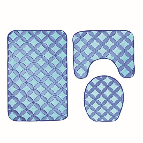 Nuamoor Tapis 3D Polyester gaufré Siège de Toilette Trois pièces Ensemble de Salle de Bains Tapis de Sol antidérapant Ensemble Étoile Ronde rectangulaire, Bleu