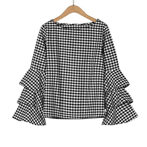 AmazingDays Femme Chemisiers T-Shirts Tops Sweats Blouses Cloche manches Polka plaid Loose shirts chemisiers Black