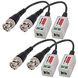 Yilan 2 pares (4 unidades) Mini Cámara CCTV BNC CAT5 Video Balun Cable Transceptor