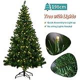 OUSFOT Weihnachtsbaum Künstlich 198cm mit 320er LED Lichterkette 8 Beleuchtungsmodi Schnellaufbau Material PVC inkl....