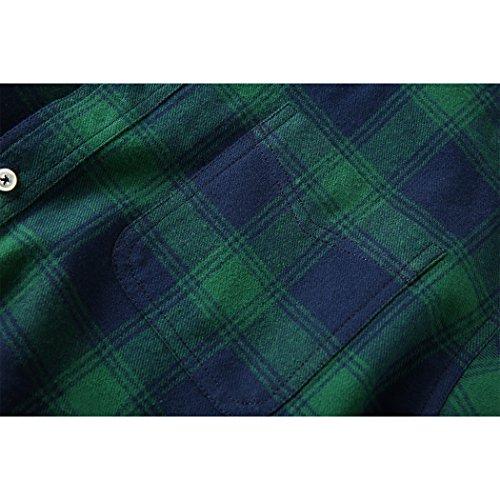 Mocotono Herren Langarm Kariertes Hemd Baumwolle Flanell Hemd mit Super Qualität Grün