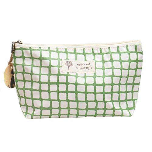 Fulltime® sac étanche lin sac cosmétique de la mode cosmétique (vert)