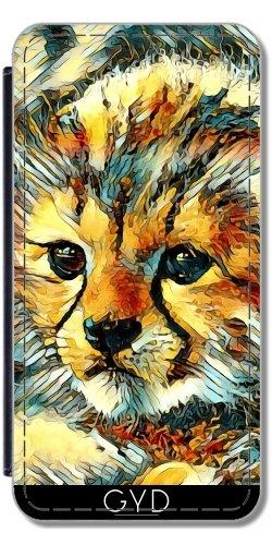 Leder Flip Case Tasche Hülle für Apple iPhone 6 Plus / 6S Plus - Animalart_cheetah by JAMFoto Lederoptik