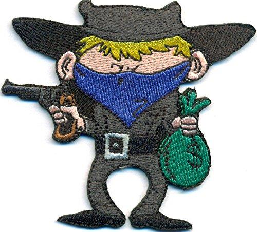 Robber Bankräuber Dieb Cowboy Bandit Revolverheld Biker Rocker Aufnäher Patch