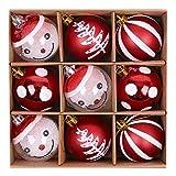 Valery Madelyn 9 Stücke 6CM Weihnachtskugeln Kunststoff Rot Weiß Christbaumkugeln Set mit Aufhänger Weihnachtsbaumschmuck Weihnachtsdekoration