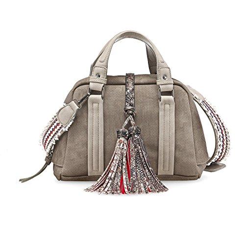 TAMARIS TANJA Damen Handtasche, Handbag, Henkeltasche, 28x20x12 cm (B x H x T), 2 Farben: braun comb. oder pepper comb. Pepper Comb. (Beige)