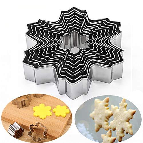 Qisf snowflake cookie cutter ,9pz/set in acciaio inox a forma di fiocco di neve per biscotti pasta di zucchero per biscotti stampo per torta di cottura fondente pasticceria, acciaio inossidabile, snowflake