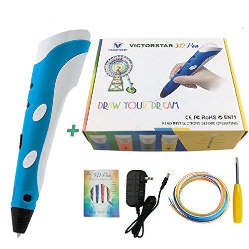 VICTORSTAR 3D-Stift in Blau-Weiß mit deutschem Handbuch