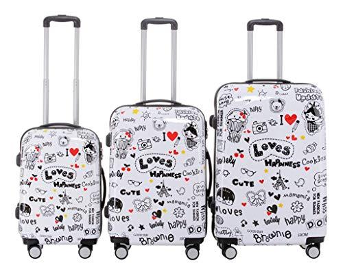 Set di valigie da viaggio 2060, set di trolley rigidi, disponibile in 12 modelli, set di 3 o 4 pezzi, dimensione unica xl/l/m/s love 3er set(xl+l+m)