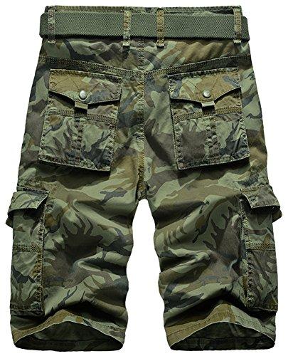 Mochoose Herren Sommer Casual Camouflage Baumwoll Twill Cargo Shorts Multi Taschen Outdoor Tragen Hosen Armeegrün