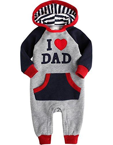 Vaenait baby Saeugling Jungen Fleece Hoodie Jumpsuit Romper Hooded Dad ()