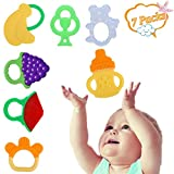Baby Zahnen Spielzeug Set Baby Obst Beißring ZYCC Soft Silcone Baby Beißring BPA-frei für 3-12 Monate Säugling Pack von 7