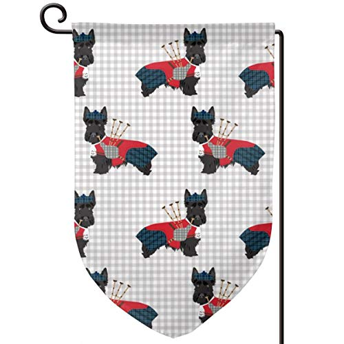 vintage cap Scottie Dog with Bagpipes Cute Scottish Polyester Garden Flag House Banner 12.5 x 18 inch, Two Sided Welcome Yard Decoration Flag for Wedding Party Home Decor -