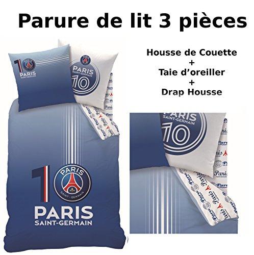 Parure de lit (3pcs) - Housse de Couette + Taie d'Oreiller + Drap housse - Imprimé PSG Numero 10
