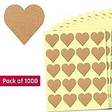2,5cm Kraft Herzform Etiketten Aufkleber - 50 Blätter, 1000 Stück