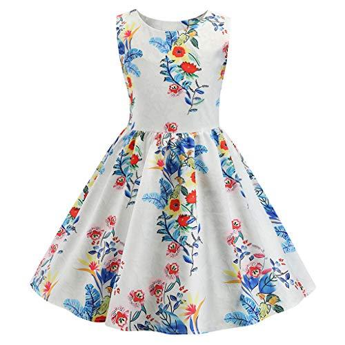 Livoral Mädchen ärmellose Print Prinzessin Puff Rock Kids Party Beauty Apparel Kleid(Weiß,110)
