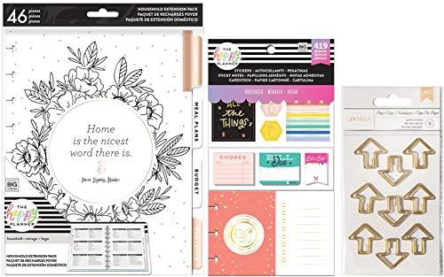 Classic Happy Planner Haushaltsplaner-Erweiterungspaket - Home Extension Pack, Haushaltszubehör-Set und geformte Planer Clips - 3 Stück -