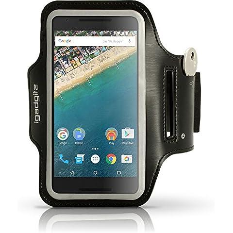 igadgitz Negro Antideslizante Brazalete Armband Deportivo para LG Nexus 5X 2015 Correr Gimnasio Funda Carcasa Con Clave Ranura