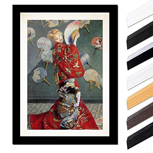 Galerie Kostüm Kunst - Bild mit Rahmen - Claude Monet La Japonaise (Camille im japanischen Kostüm) 40x60cm ca. A2 - Gerahmter Kunstdruck inkl. Galerie Passepartout Alte Meister - Rahmen schwarz glatt
