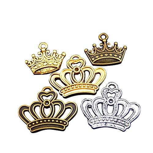 hiedene Vintage-Stil Legierung erfolgt zufällig King Kronen Anhängern Ergebnisse Basteln CHARMS (Diy-king-krone)