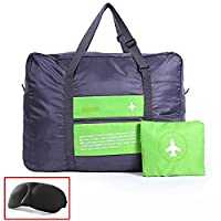 32L Lightweight Foldable Packaway Duffle Bag Packable Barrel Bag for Travel Gym Luggage Sports Camping Ultra Tear-resistant with Extra 3D Breathable Eye Mask (Green)